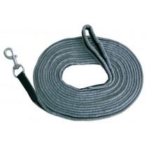 Longeerlijn zacht  zwart/grijs 8 meter